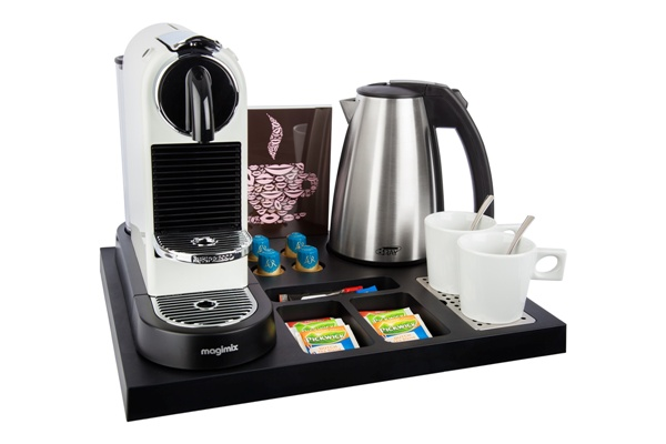 Plastic welcome tray with space for Nespresso machine