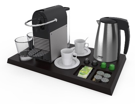Bespoke hospitality tray with coffee machine kettle and glasses | B-TRAY hotel supplies