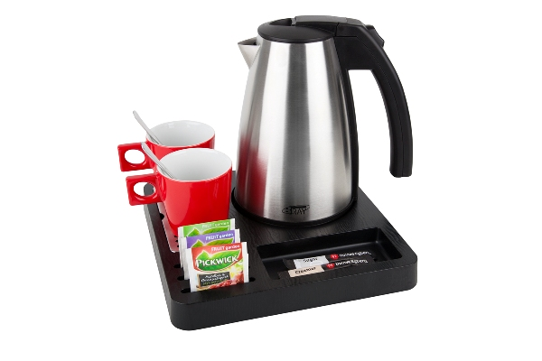Coffee and tea tray for hotel room with 1.0L kettle | B-TRAY SQUARE