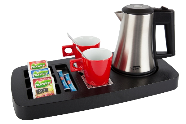 Coffee and tea tray for hotels with small stainless steel kettle | B-TRAY SENSE