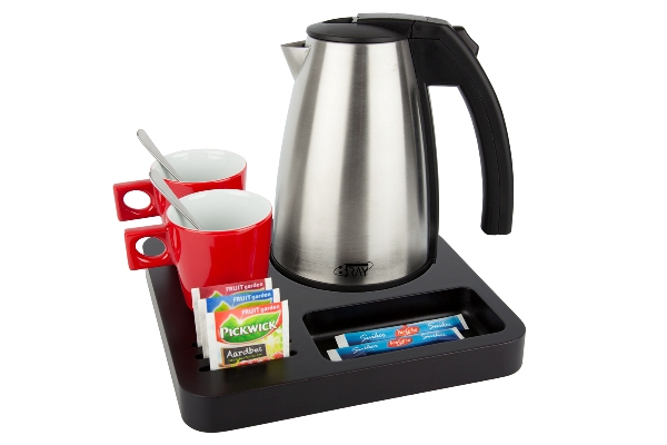 Coffee and tea tray solid wood with stainless steel 1.0 litre kettle | B-TRAY SLIM