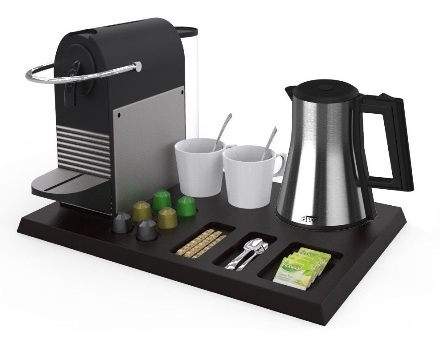Custom made Hospitality tray wood with Nespresso machine  | B-TRAY hotel supplies