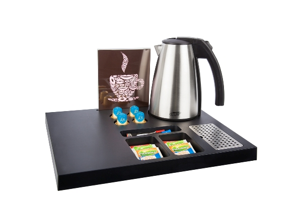 Hospitality tray for Nespresso coffee machine with kettle