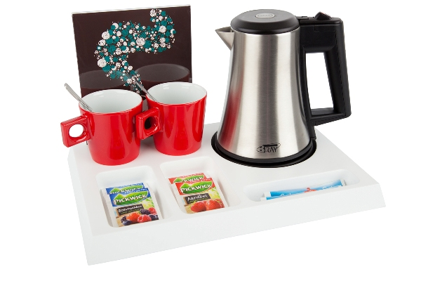 Hospitality tray white with kettle porcelain cups and leaflet holder | B-TRAY SIGNUM