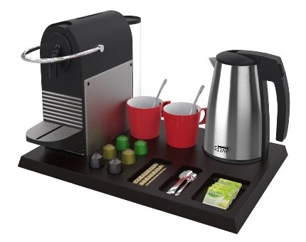 Hospitality tray with Nespresso machine and kettle B-TRAY hotel supplies