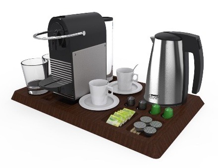 Bespoke hospitality tray with Nespresso machine kettle and glasses | B-TRAY