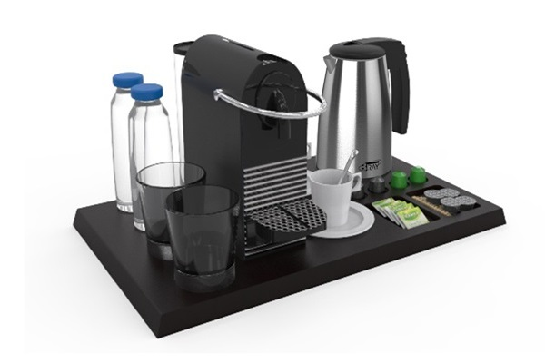 Besproke hospitality tray with coffee machine | B-TRAY hotel supplies