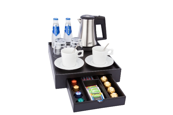 Hospitality tray with space for a kettle, cups, bottles of water and glasses | B-TRAY