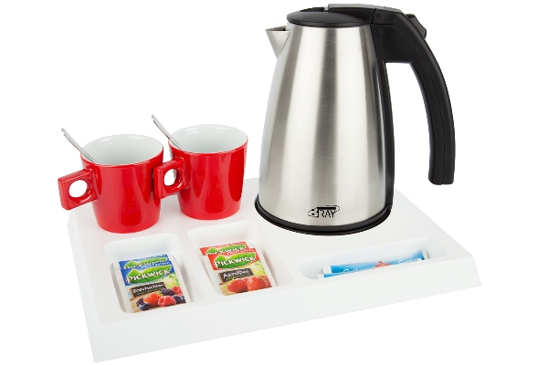 Hospitality trays with stainless steel kettle STYLE 1.0 litre | B-TRAY SIGNUM