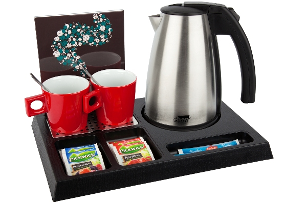 Hostess tray of ABS plastic with 1.0 litre kettle, cups and leaflet holder | B-TRAY STAY