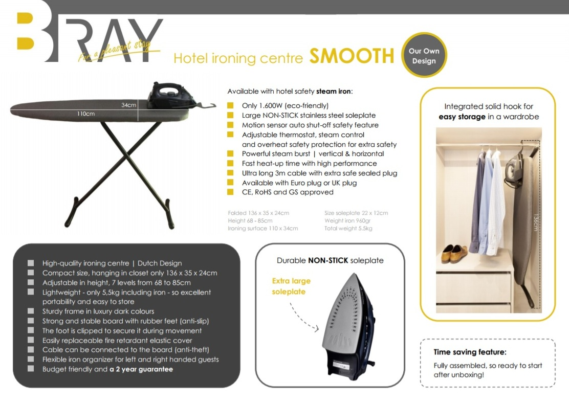 Hotel Ironing centre SMOOTH | B-TRAY Hotel Supplies