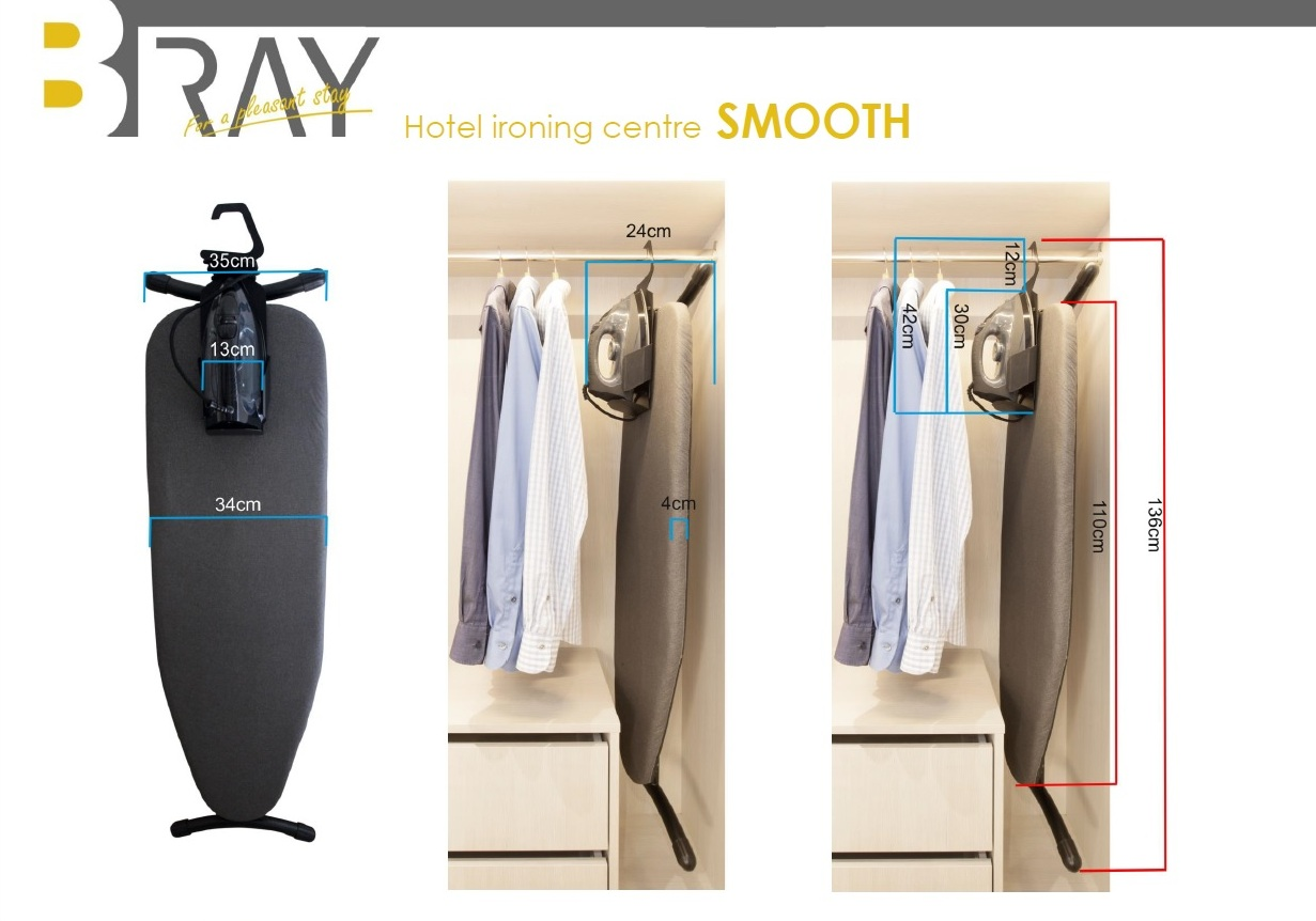 Hotel Ironing centre SMOOTH dimensions | B-TRAY Hotel Supplies