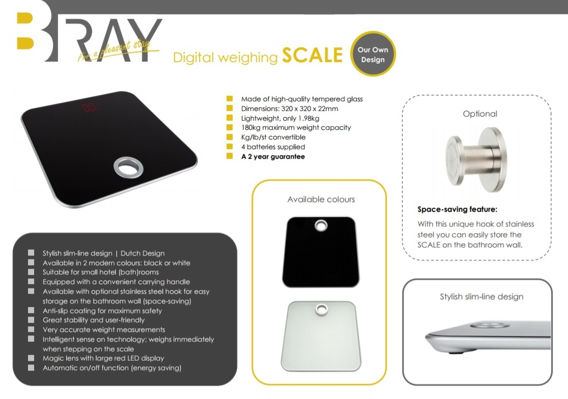 Hotel bathroom scale white or black | B-TRAY Hotel Supplies