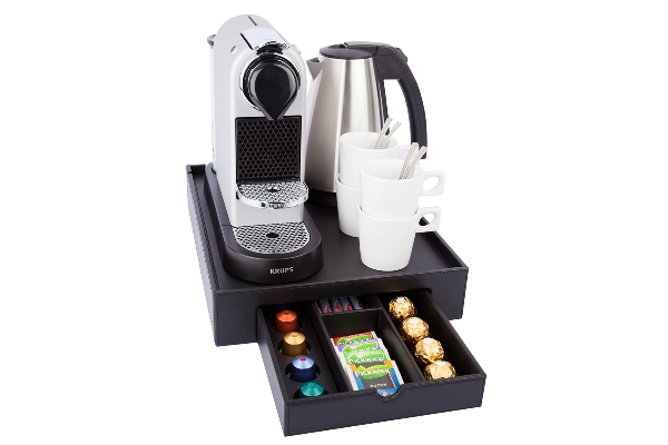 Hotel welcome tray for Nespresso machine with 4 coffee cups | B-TRAY