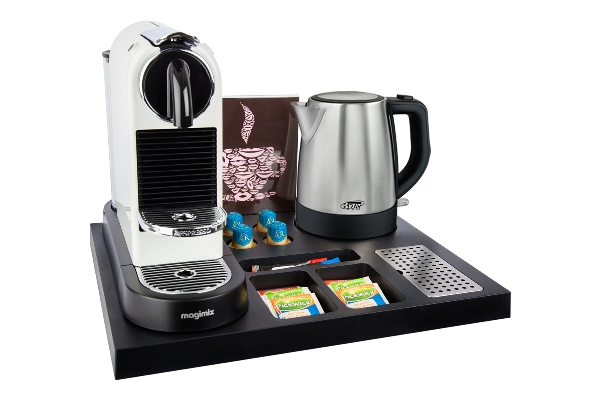 In-room coffee maker tray for hotels