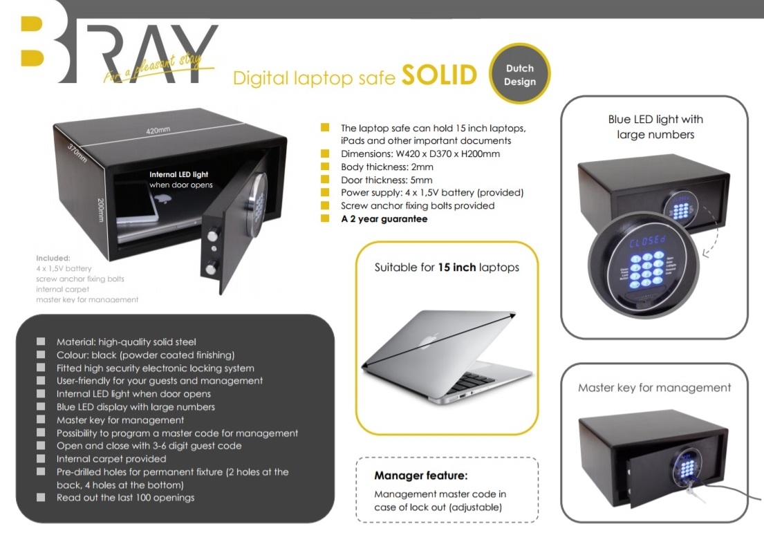 Laptop safe SOLID for hotels | B-TRAY Hotel Supplies