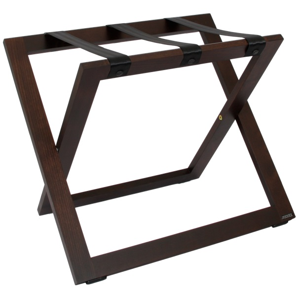 Suitcase stand walnut with nylon straps | B-TRAY hotel supplies