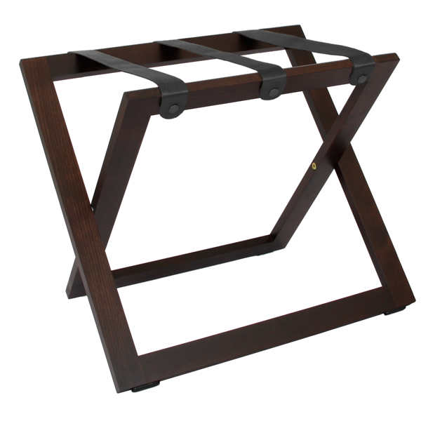 Suitcase stand walnut with nylon straps B-TRAY