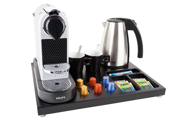 Tray for hotel room with coffee machine | B-TRAY Hotel Supplies