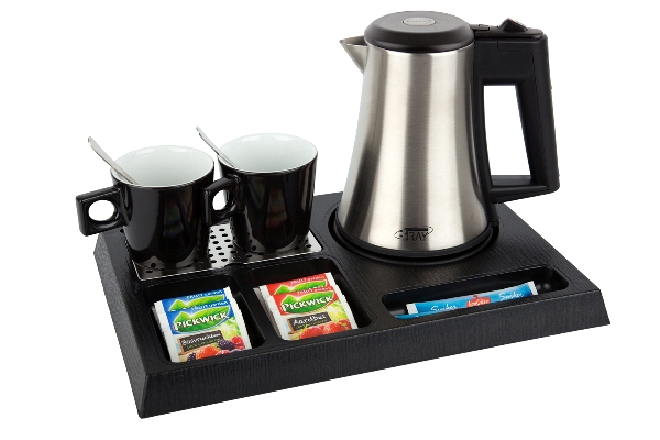Welcome tray ABS with 0.5 litre hotel water kettle | B-TRAY STAY