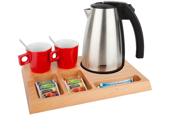 Welcome trays solid wood with stainless steel kettle STYLE | B-TRAY SIGNUM