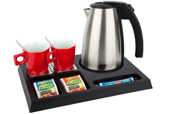 Welcome trays with stainless steel hotel kettle | B-TRAY STAY