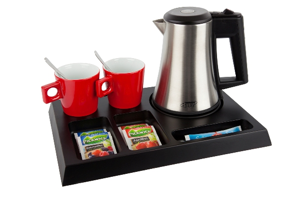 Welcome trays with stainless steel kettle | B-TRAY SIGNUM