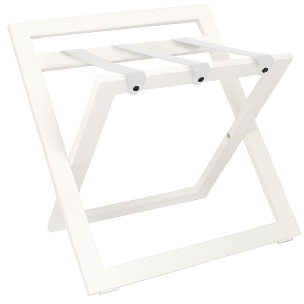 White luggage rack with white leather straps B-TRAY
