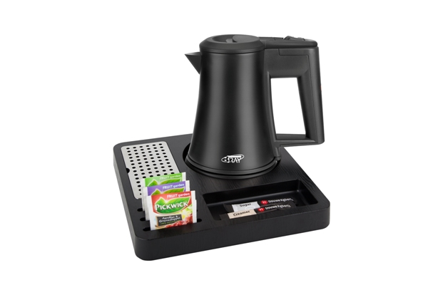 Black ABS hospitality tray with black kettle