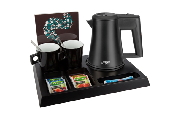 Black hospitality tray and kettle