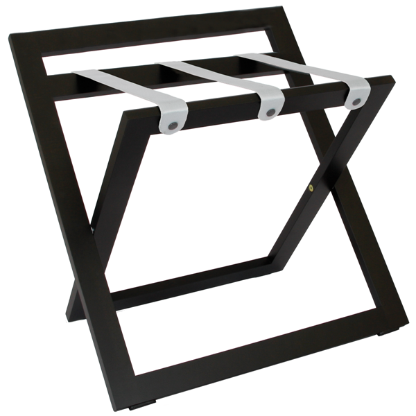 Black luggage rack for hotels - solid wood with nylon straps | B-TRAY