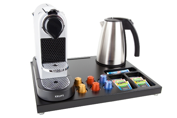 Coffee and tea facility for hotels with coffee machine and 1,0L kettle | B-TRAY