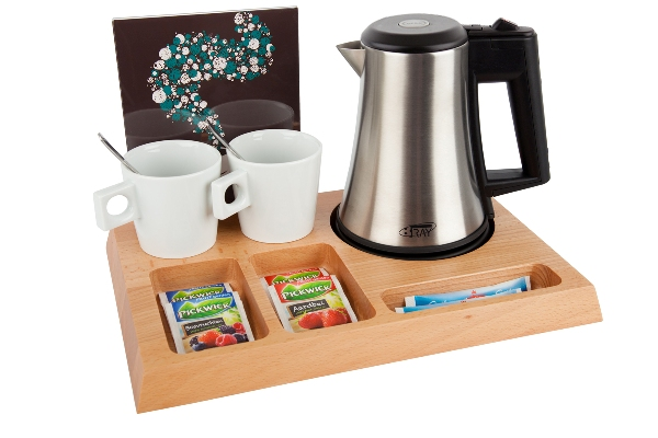 Coffee and tea facility natural with small kettle B-TRAY SIGNUM