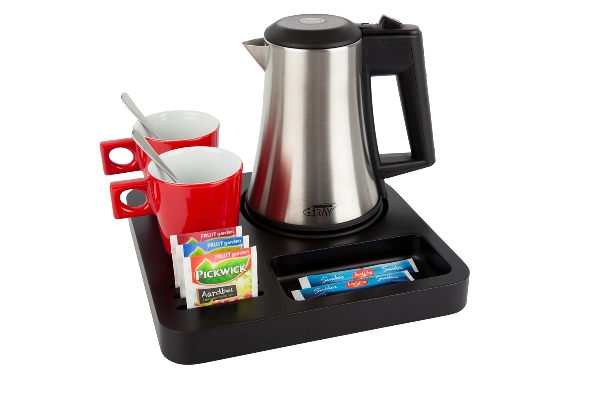 Coffee and tea tray with small stainless steel kettle B-TRAY SLIM