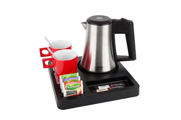 Coffee and tea tray with small stainless steel kettle B-TRAY SQUARE