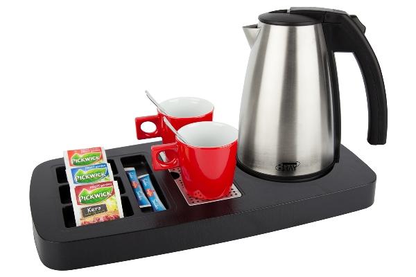 Coffee and tea tray with stainless steel kettle STYLE B-TRAY SENSE