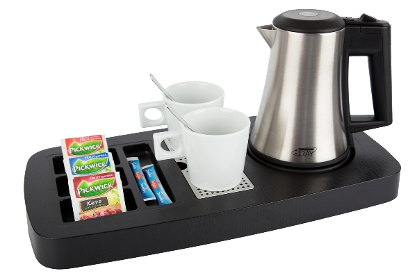 Hospitality tray ABS / plastic black with 0.5 litre kettle | B-TRAY SENSE