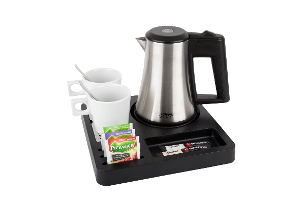 Courtesy tray black ABS with 0.5 litre kettle B-TRAY SQUARE
