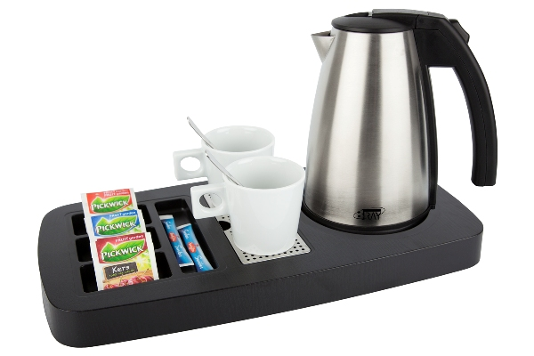 Courtesy tray black with 0.5 litre kettle