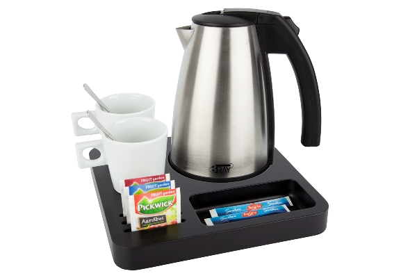 Hospitality tray blackbrown with 1.0 litre kettle STYLE | B-TRAY SLIM