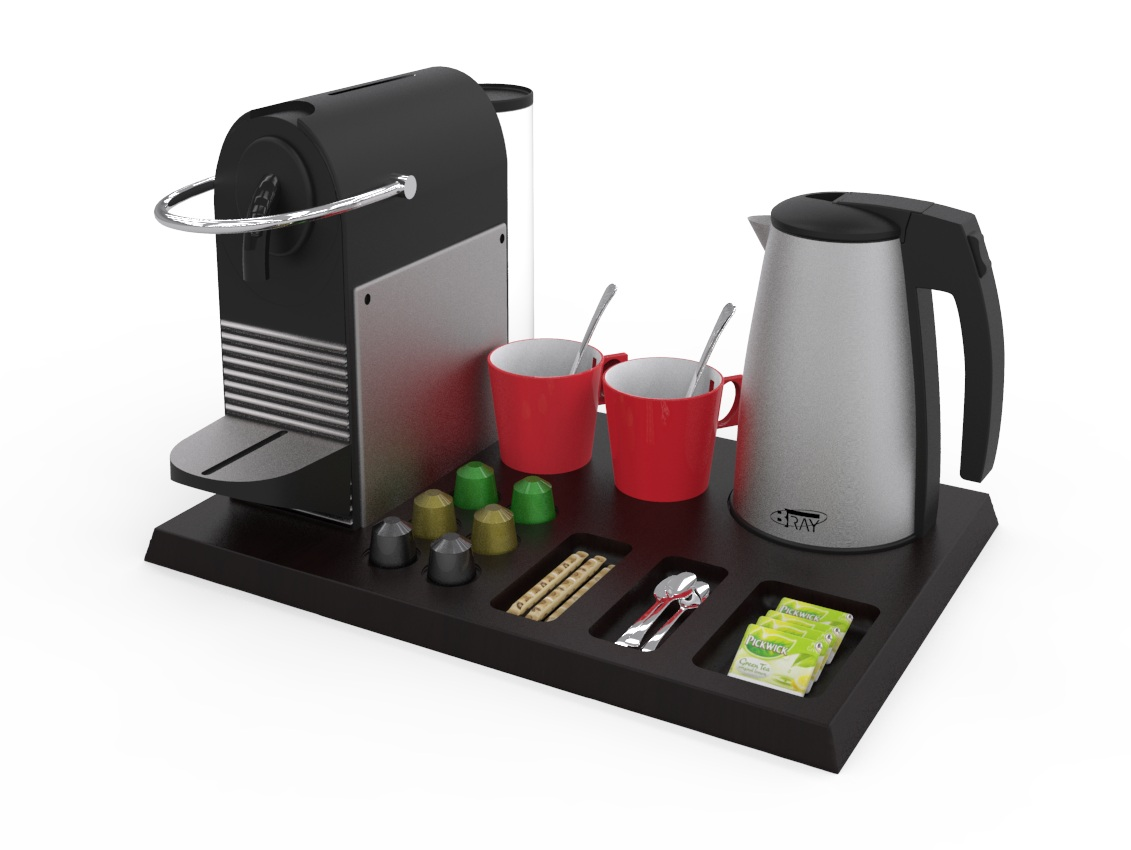 Hospitality tray with Nespresso machine and 1.0L kettle B-TRAY