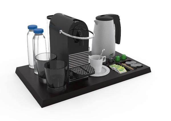 Hospitality tray with coffee machine kettle glasses B-TRAY