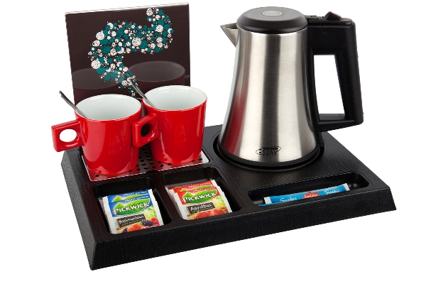 Hostess tray with kettle porcelain cups and leaflet holder B-TRAY STAY