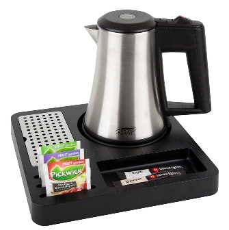 Hotel welcome tray B-TRAY SQUARE with stainless steel kettle STAR