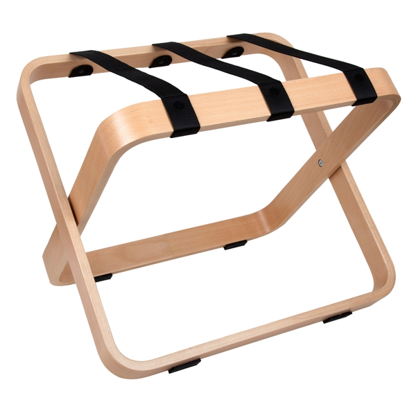 Luggage holder natural beech with black nylon straps | B-TRAY hotel supplies