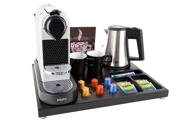Hospitality tray for hotel room with coffee machine | B-TRAY SUPREME