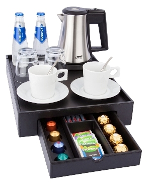 Hospitality tray B-TRAY SPACE with space for a hotel kettle and cups