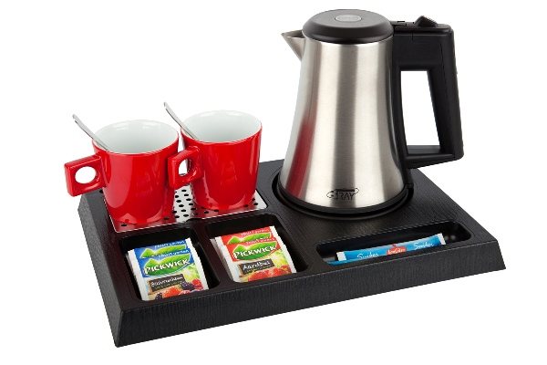 Welcome trays with stainless steel kettle | B-TRAY STAY