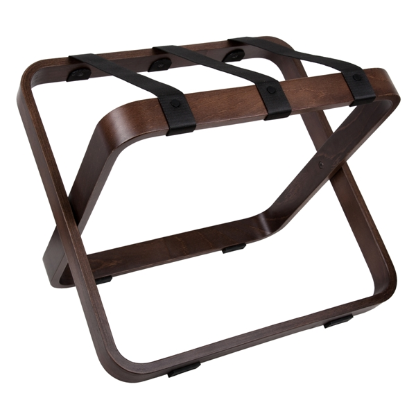 Wooden luggage rack SWING walnut with black nylon straps | B-TRAY hotel products